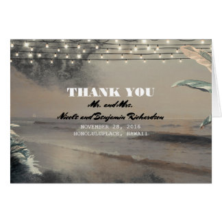 Beach Palms and String Lights Tropical Thank You Card