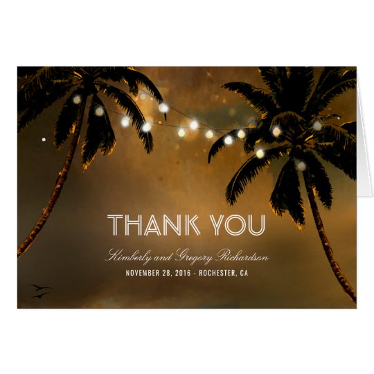 Beach Palms String Lights Wedding Thank You Card