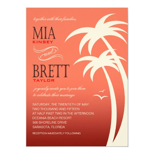 Beach Palms Tropical Wedding FELT | coral Card