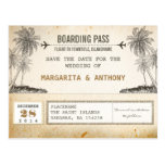 beach palms vintage boarding pass save the date
