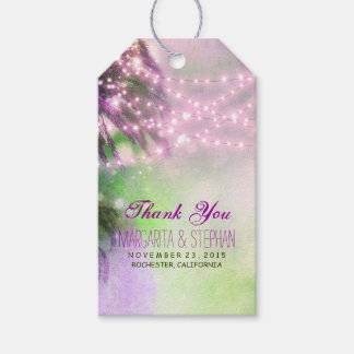 Beach Palms Watercolor Purple Wedding Thank You Gift Tags