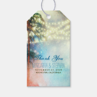 Beach Palms Watercolor Wedding Thank You Gift Tags