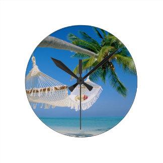 Beach Paradise Vacation Hammock Round Clock