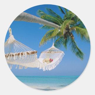 Beach Paradise Vacation Hammock Round Sticker