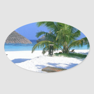 Beach Paradise Vacation Oval Sticker