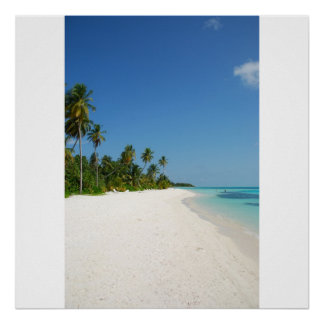 Beach paradise with palm trees poster