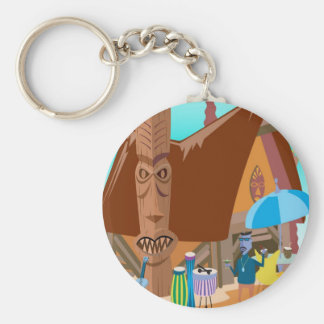 Beach party basic round button key ring