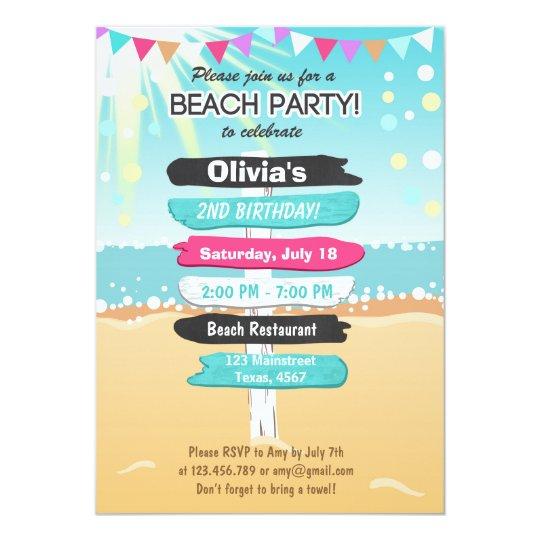beach party beach birthday beach invitation zazzle co uk
