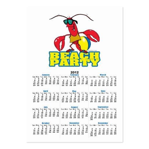 beach party cute lobster cartoon character business card