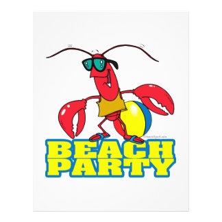 beach party cute lobster cartoon character flyer