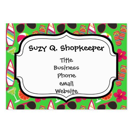 Beach Party Flip Flops Sunglasses Beach Ball Green Business Card Template
