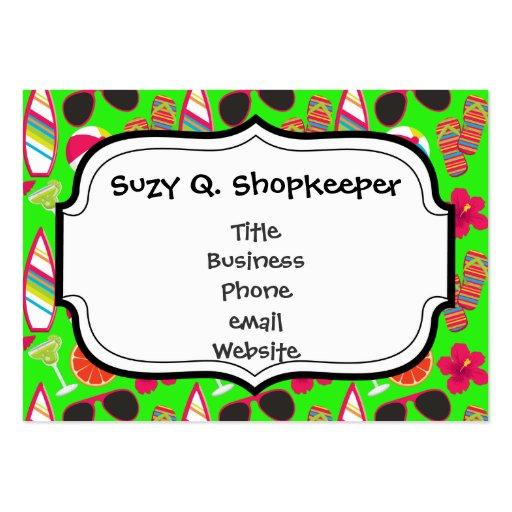 Beach Party Flip Flops Sunglasses Beach Ball Green Business Card Templates