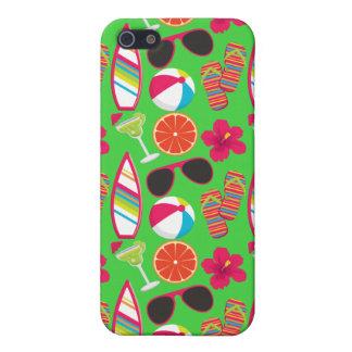 Beach Party Flip Flops Sunglasses Beach Ball Green Case For iPhone 5