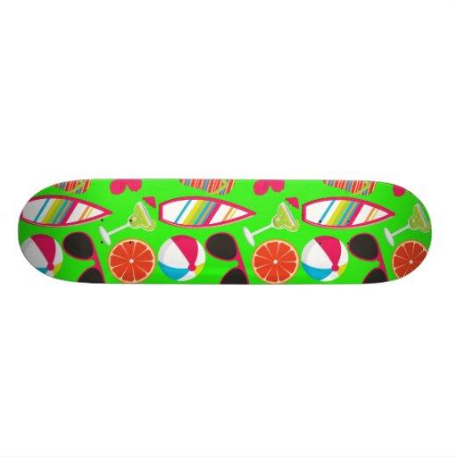 Beach Party Flip Flops Sunglasses Beach Ball Green Custom Skateboard