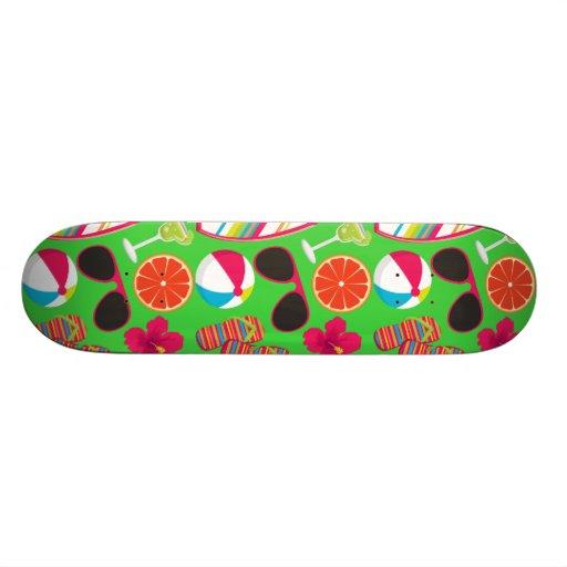 Beach Party Flip Flops Sunglasses Beach Ball Green Skate Board Deck