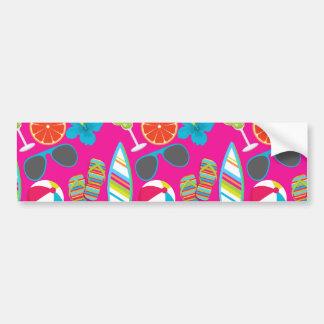 Beach Party Flip Flops Sunglasses Beach Ball Pink Car Bumper Sticker