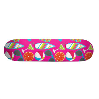 Beach Party Flip Flops Sunglasses Beach Ball Pink Skate Boards