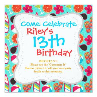 Beach Party Flip Flops Sunglasses Beach Ball Teal 13 Cm X 13 Cm Square Invitation Card