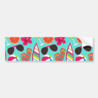 Beach Party Flip Flops Sunglasses Beach Ball Teal Car Bumper Sticker