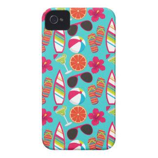 Beach Party Flip Flops Sunglasses Beach Ball Teal Case-Mate iPhone 4 Case