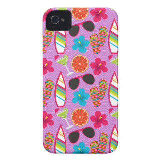 Beach Party Flip Flops Sunglasses Beachball Purple Case-Mate iPhone 4 Cases