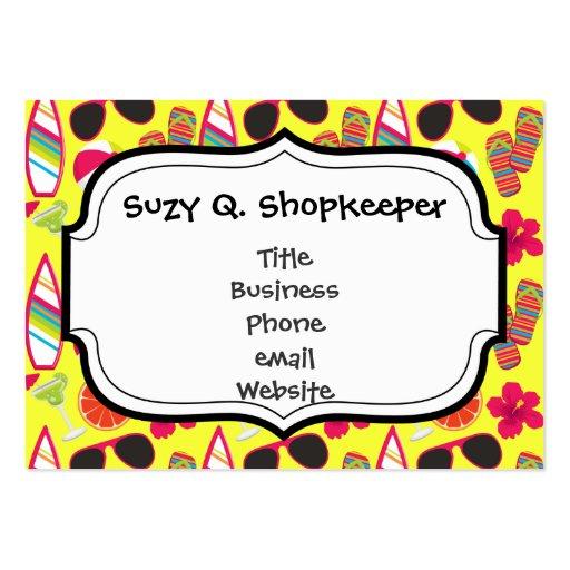 Beach Party Flip Flops Sunglasses BeachBall Yellow Business Card