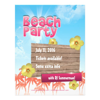 Beach Party flyer - one sided, fully customizable