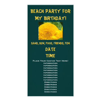 Beach Party for my Birthday! Invitations Sunflower Picture Card