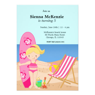 Beach Party Girl Personalized Announcement
