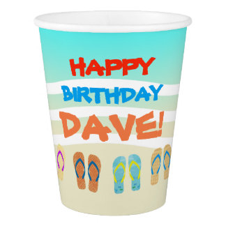 Beach Party Happy Birthday Custom Paper Cup