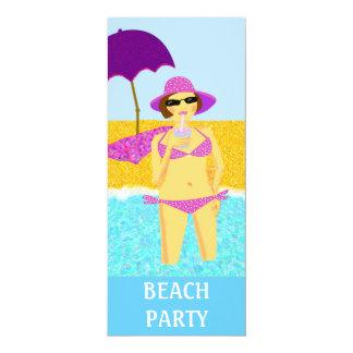 Beach party 10 cm x 24 cm invitation card