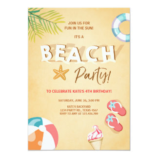 Beach Party Invitation Beach Birthday BBQ Summer