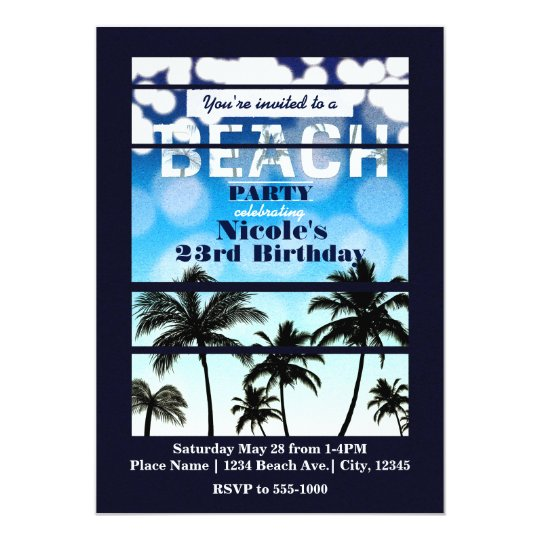 Beach Party Palm Trees Tropical Party Invitations