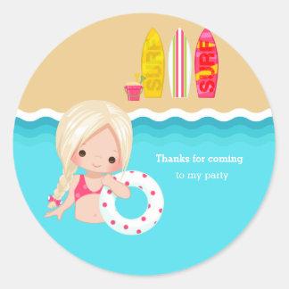 Beach party round sticker