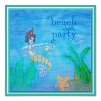 Beach Party Tropical Mermaid Personalised 13 Cm X 13 Cm Square Invitation Card
