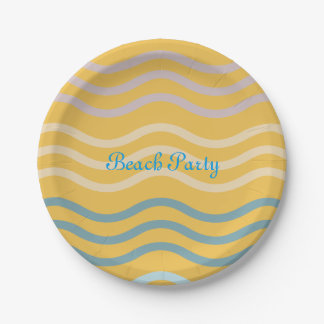 Beach Party Waves Pattern Paper Plate
