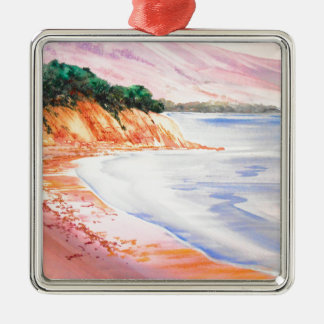 Beach, Pastel and Watercolor Silver-Colored Square Decoration