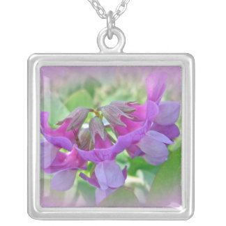 Beach Pea - Lathyrus japonicus - Wildflower Square Pendant Necklace