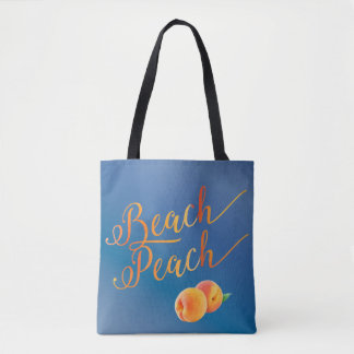 Beach Peach Ocean Blue Tropical Vacation Tote Bag