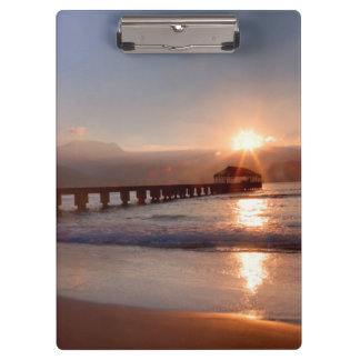 Beach pier at sunset, Hawaii Clipboards