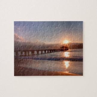 Beach pier at sunset, Hawaii Jigsaw Puzzle