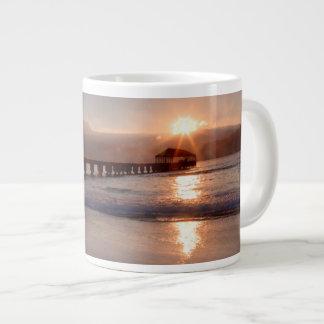 Beach pier at sunset, Hawaii Large Coffee Mug
