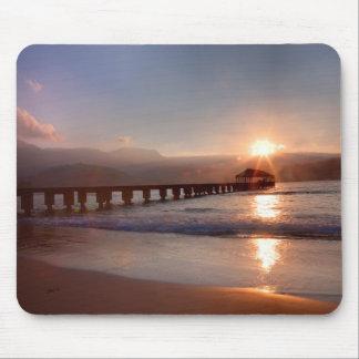 Beach pier at sunset, Hawaii Mouse Mat