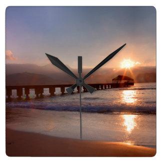 Beach pier at sunset, Hawaii Square Wall Clock