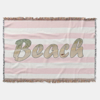 Beach Pink Cabana Stripe Throw Blanket