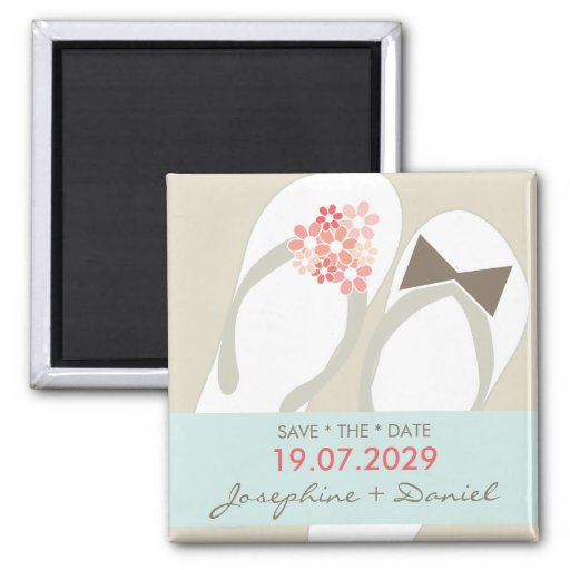 Beach Pink Flip Flops Custom Save The Date Magnet