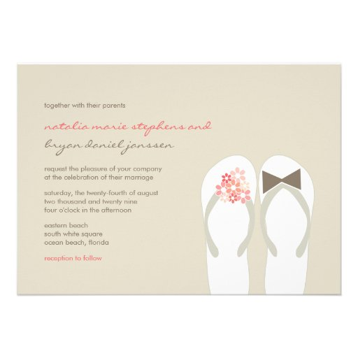 Beach Pink Flip Flops Summer Chic Wedding Invite Personalized Invitations