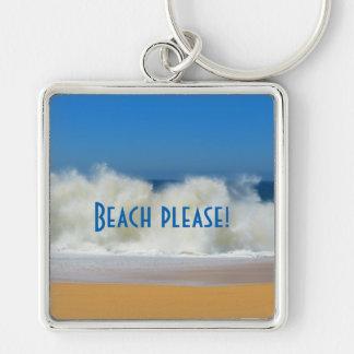 Beach Please! Beach scene with Crashing Waves Key Ring