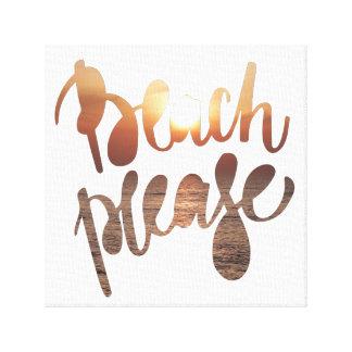 BEACH PLEASE | Fun Typography & Quote Canvas Print