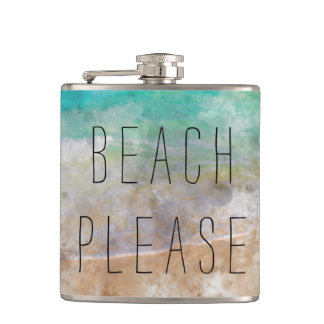 Beach Please Gift Flask